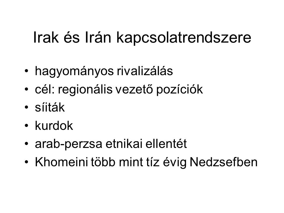Irak és Irán kapcsolatrendszere