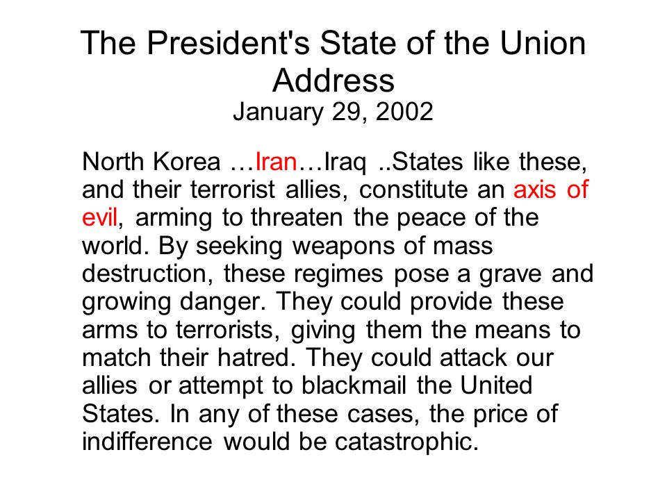 The President s State of the Union Address January 29, 2002