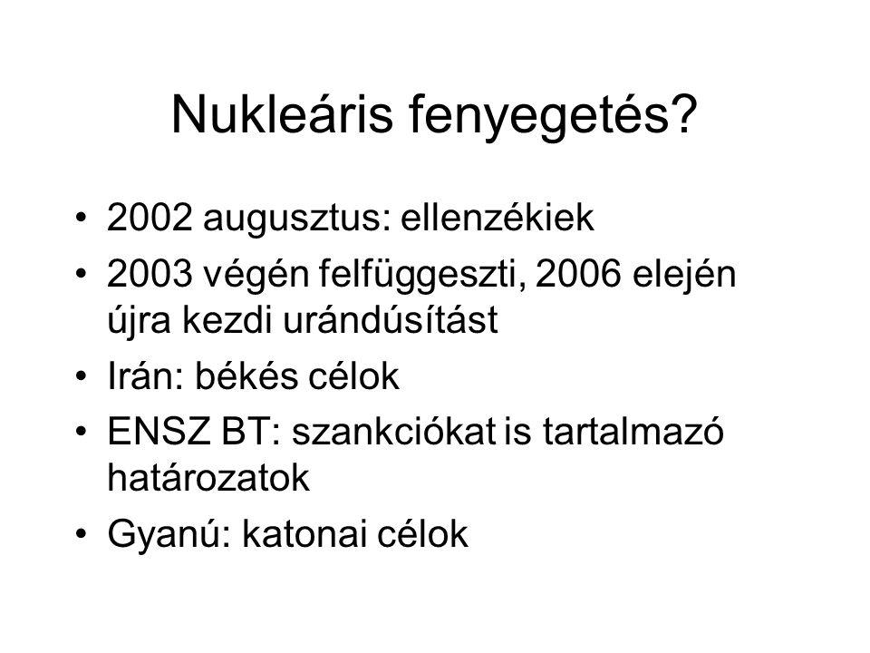 Nukleáris fenyegetés 2002 augusztus: ellenzékiek
