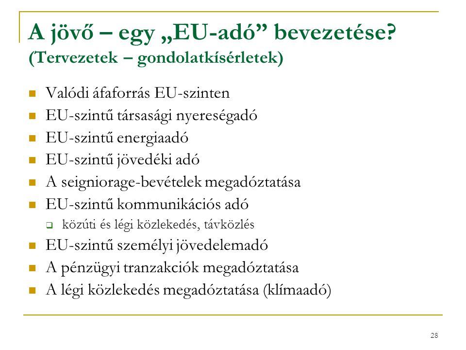 """A jövő – egy """"EU-adó bevezetése (Tervezetek – gondolatkísérletek)"""