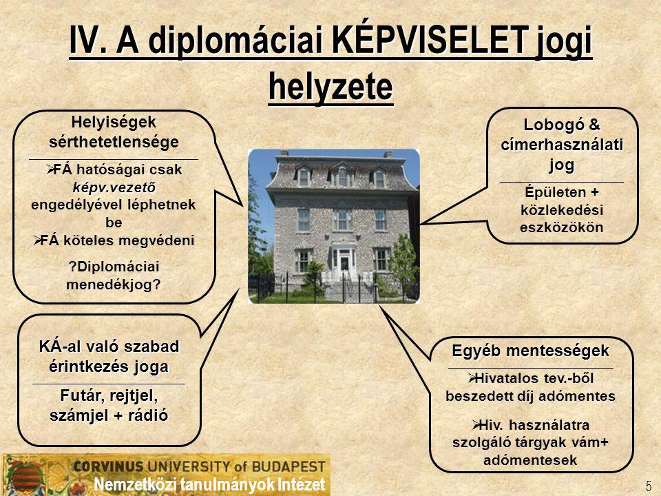 IV. A diplomáciai KÉPVISELET jogi helyzete