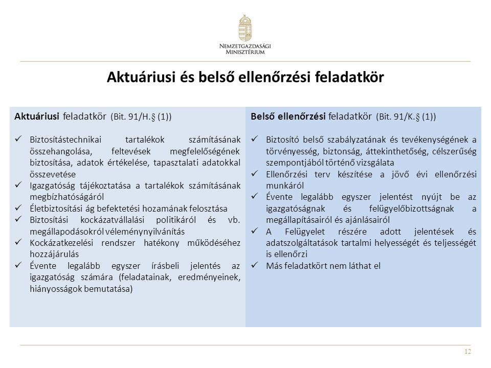 Aktuáriusi és belső ellenőrzési feladatkör