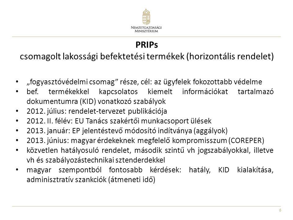 PRIPs csomagolt lakossági befektetési termékek (horizontális rendelet)