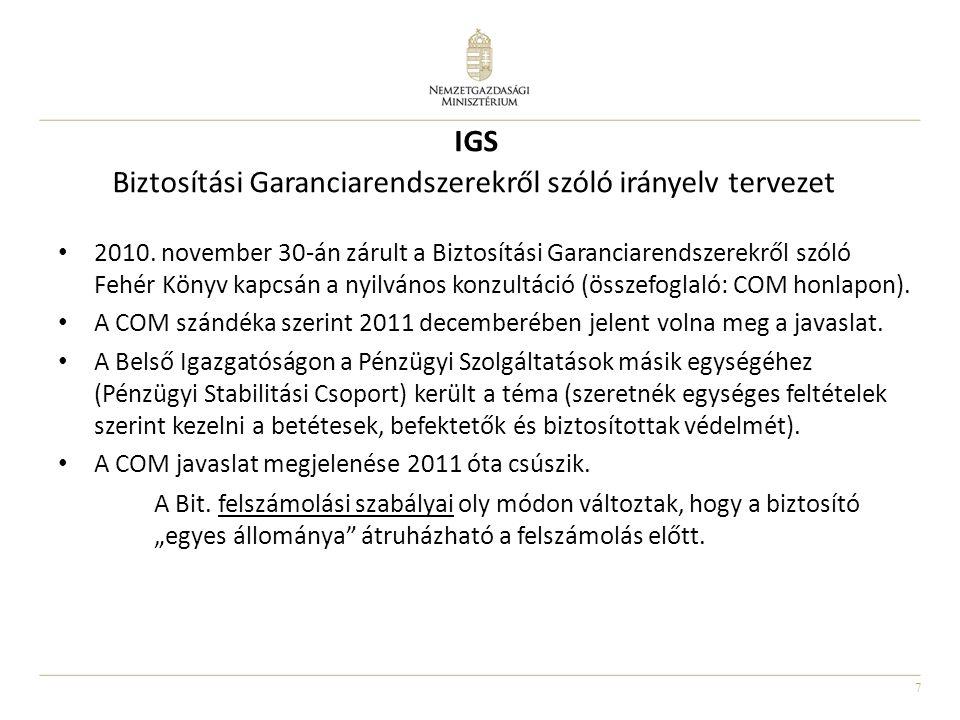IGS Biztosítási Garanciarendszerekről szóló irányelv tervezet