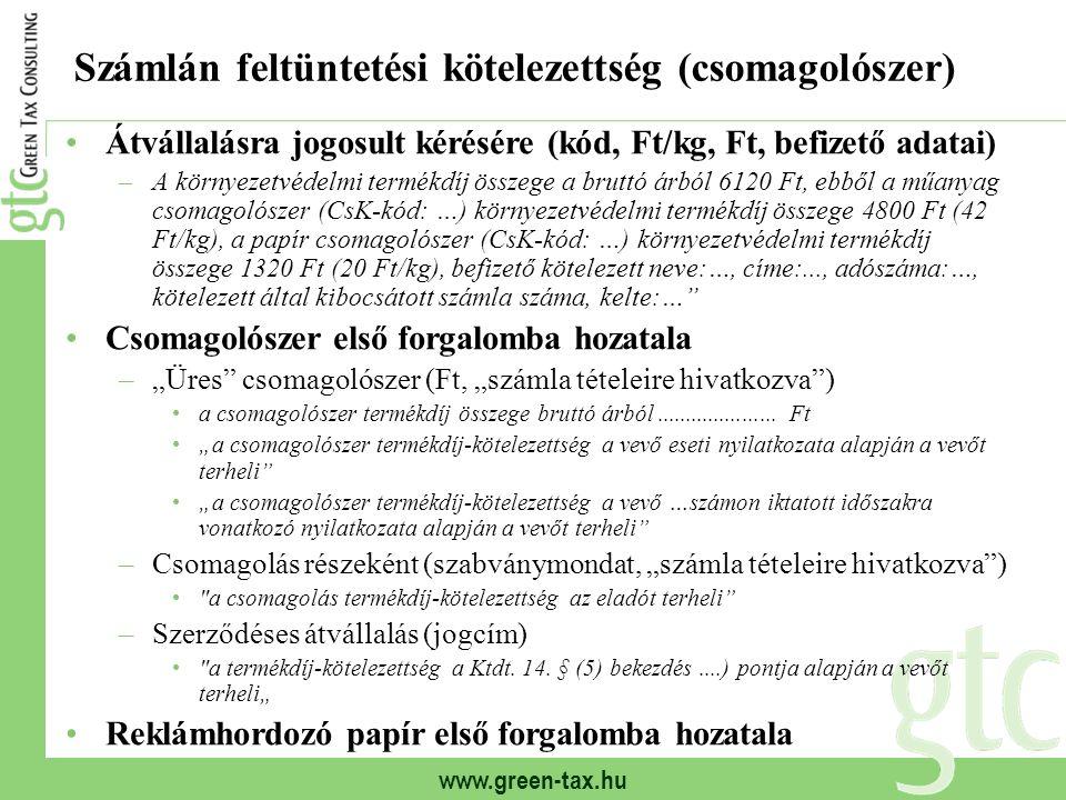 Számlán feltüntetési kötelezettség (csomagolószer)