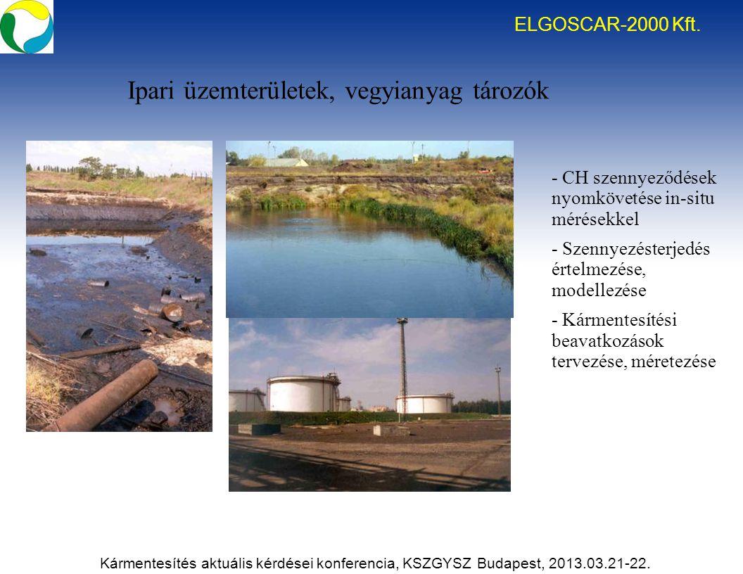 Ipari üzemterületek, vegyianyag tározók