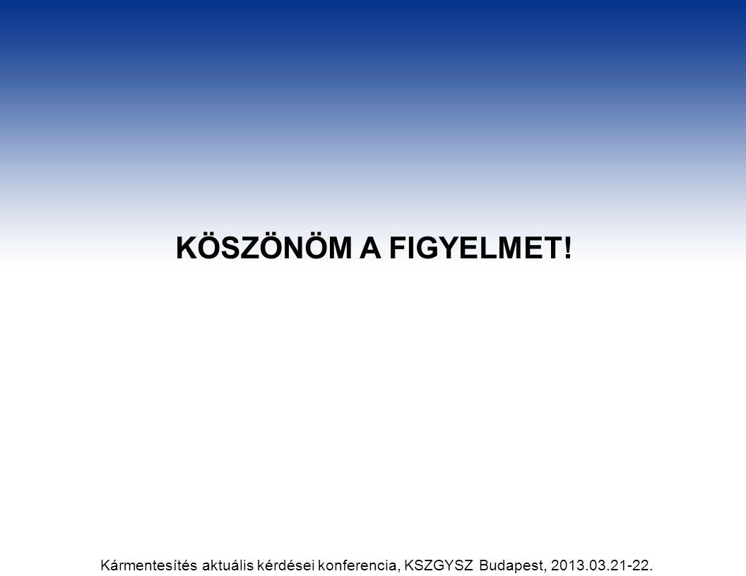 KÖSZÖNÖM A FIGYELMET! Kármentesítés aktuális kérdései konferencia, KSZGYSZ Budapest, 2013.03.21-22.