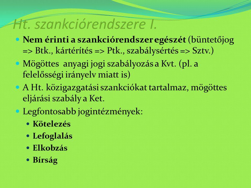 Ht. szankciórendszere I.