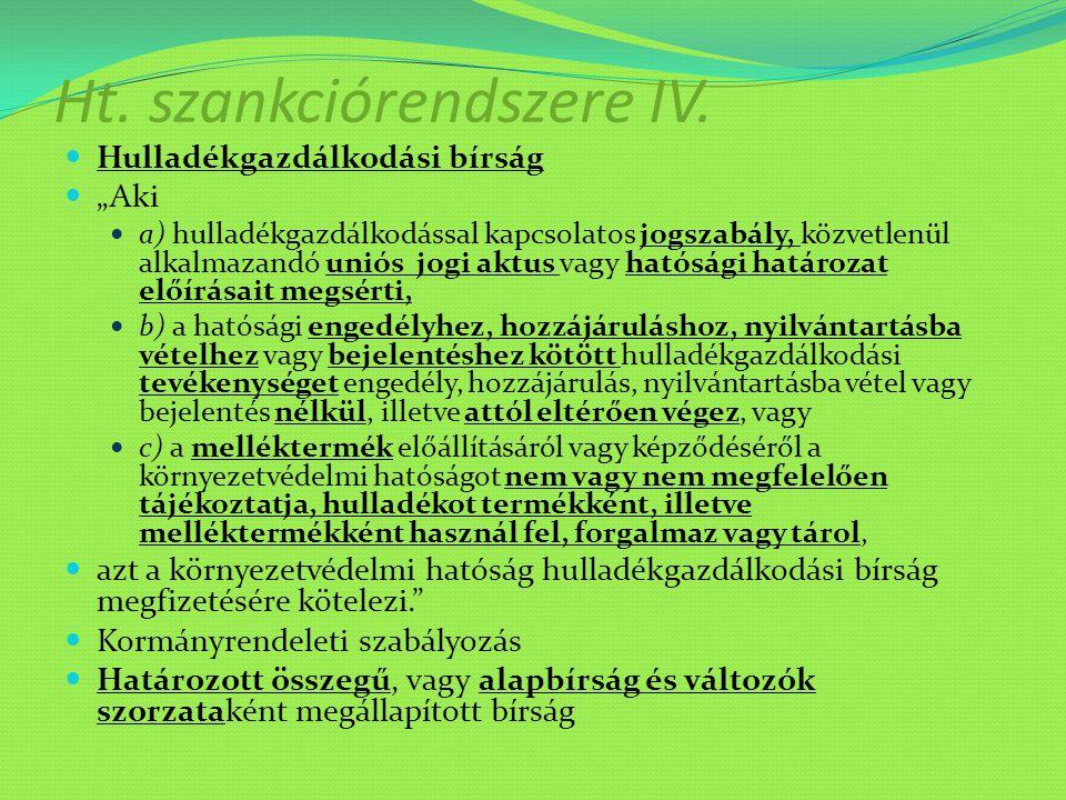 Ht. szankciórendszere IV.