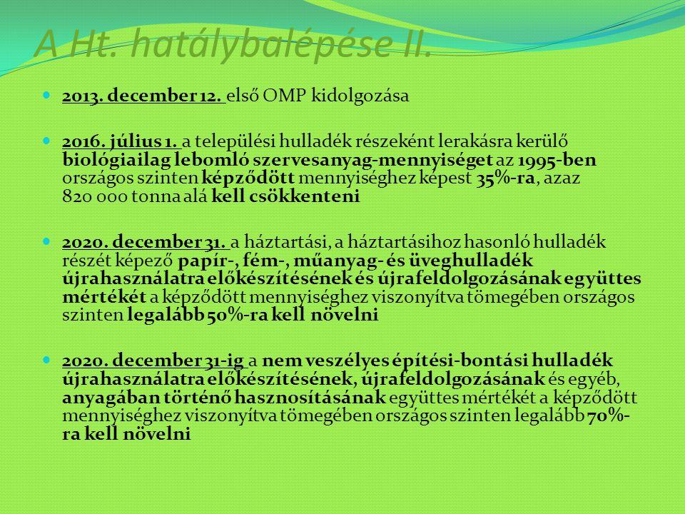 A Ht. hatálybalépése II. 2013. december 12. első OMP kidolgozása