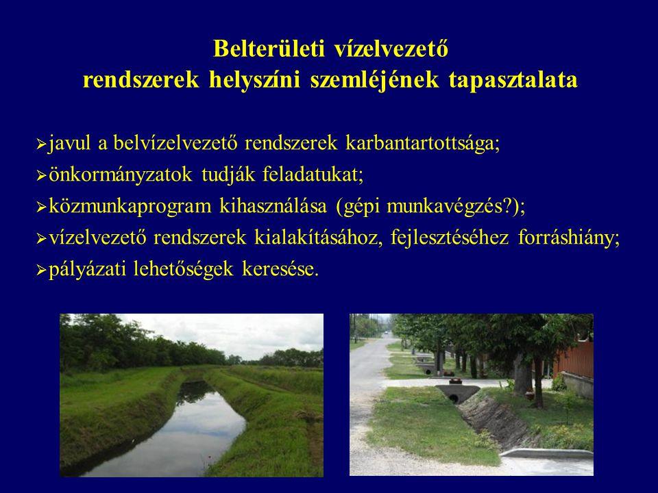 Belterületi vízelvezető rendszerek helyszíni szemléjének tapasztalata