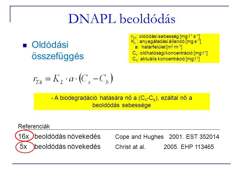 DNAPL beoldódás Oldódási összefüggés