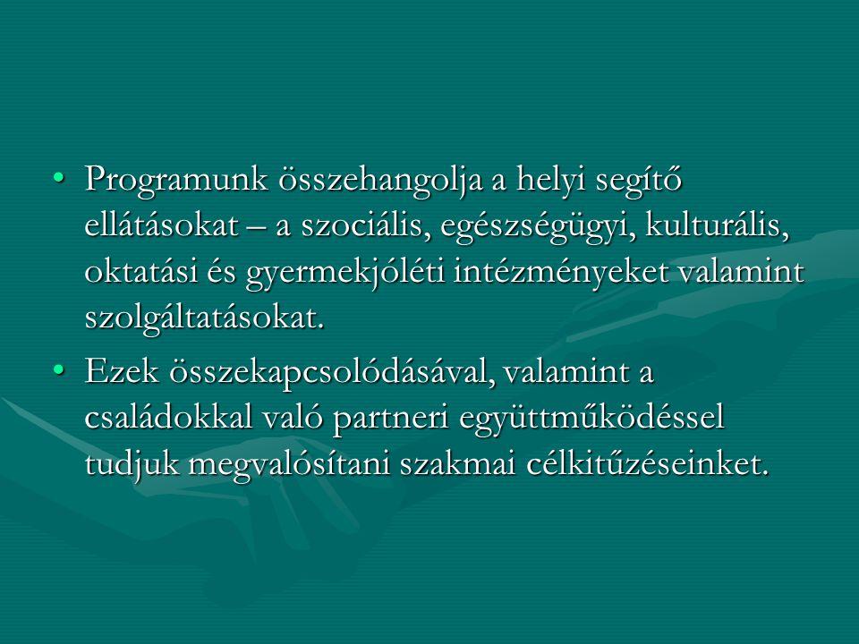 Programunk összehangolja a helyi segítő ellátásokat – a szociális, egészségügyi, kulturális, oktatási és gyermekjóléti intézményeket valamint szolgáltatásokat.