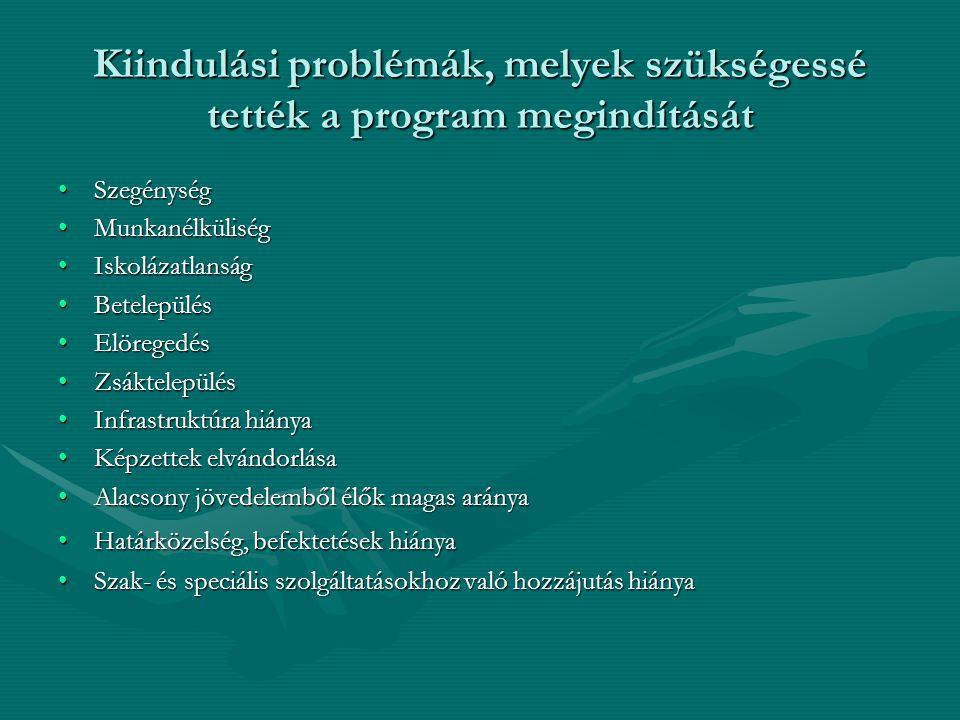 Kiindulási problémák, melyek szükségessé tették a program megindítását