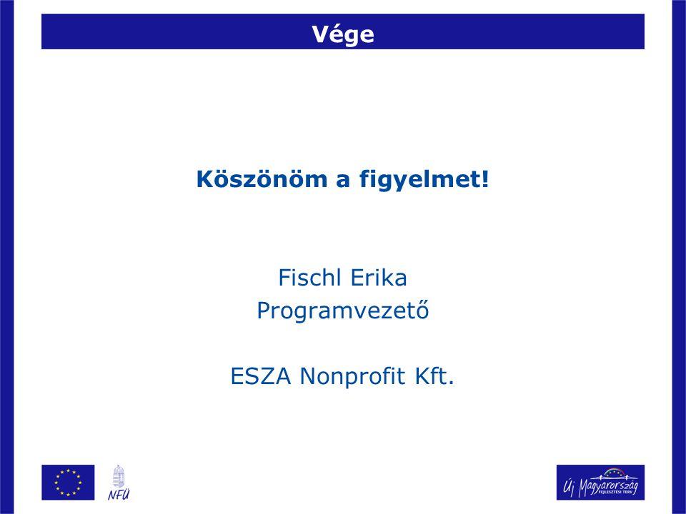 Vége Köszönöm a figyelmet! Fischl Erika Programvezető ESZA Nonprofit Kft.