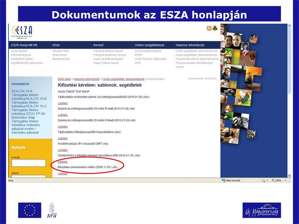 Dokumentumok az ESZA honlapján