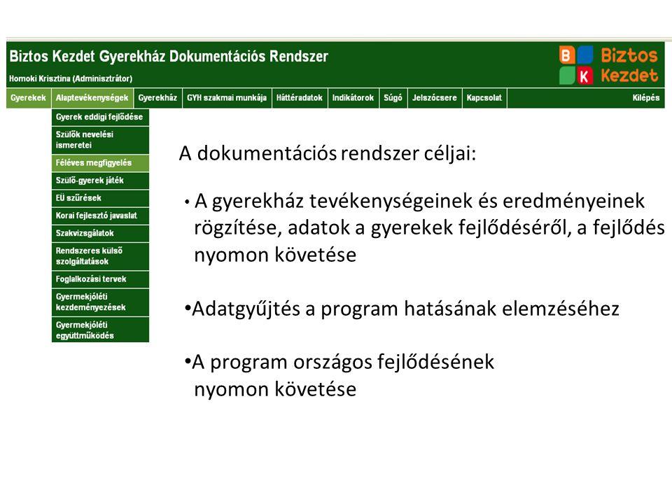 A dokumentációs rendszer céljai: