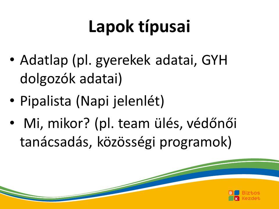 Lapok típusai Adatlap (pl. gyerekek adatai, GYH dolgozók adatai)