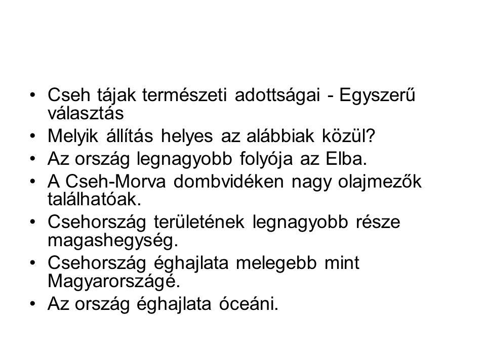 Cseh tájak természeti adottságai - Egyszerű választás