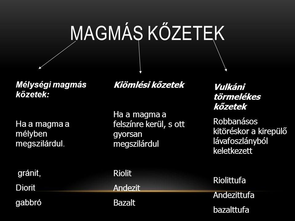 Magmás kőzetek Mélységi magmás kőzetek:
