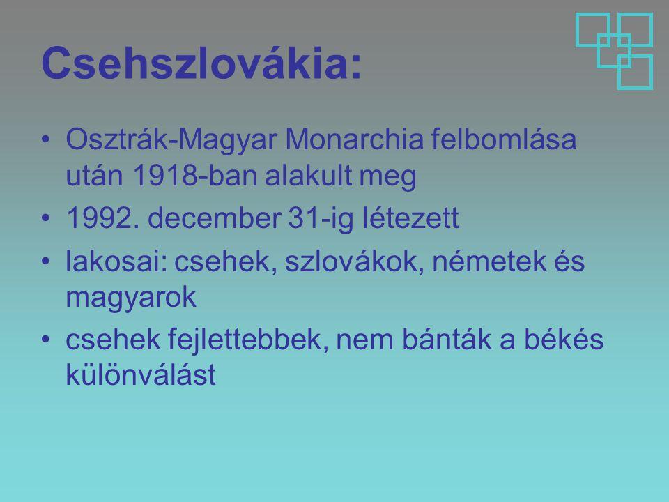 Csehszlovákia: Osztrák-Magyar Monarchia felbomlása után 1918-ban alakult meg. 1992. december 31-ig létezett.