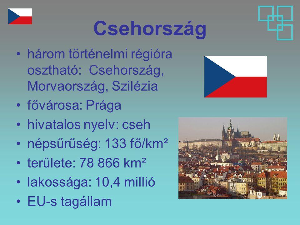 Csehország három történelmi régióra osztható: Csehország, Morvaország, Szilézia. fővárosa: Prága.