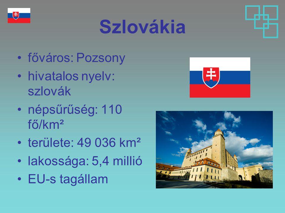 Szlovákia főváros: Pozsony hivatalos nyelv: szlovák