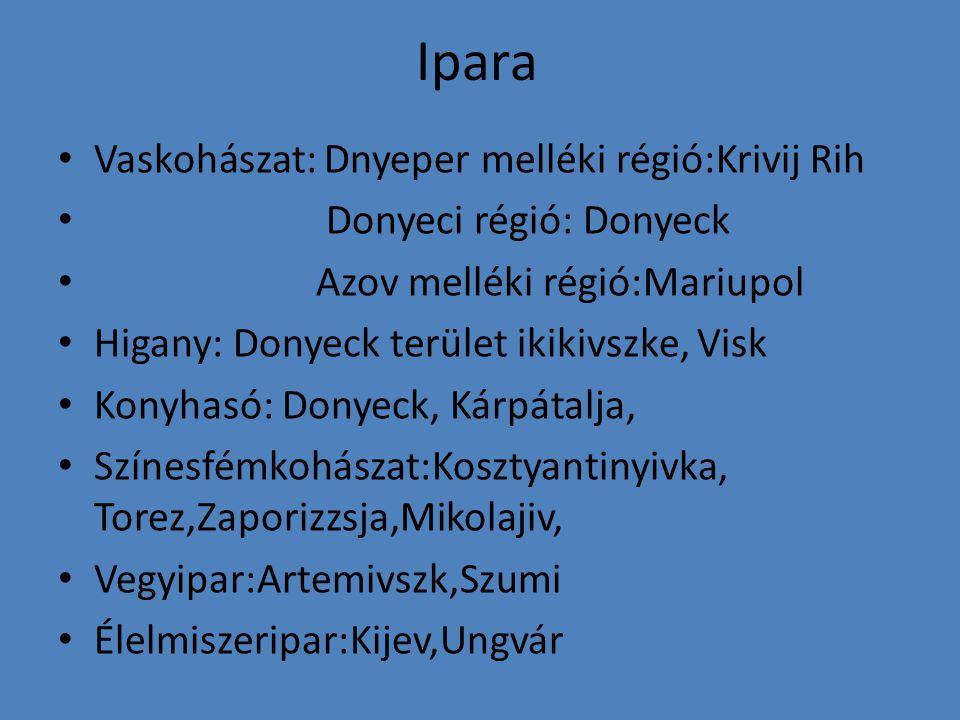 Ipara Vaskohászat: Dnyeper melléki régió:Krivij Rih