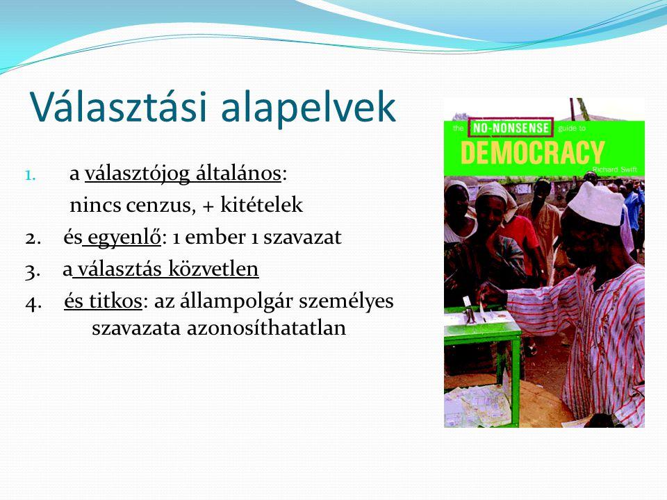 Választási alapelvek a választójog általános: