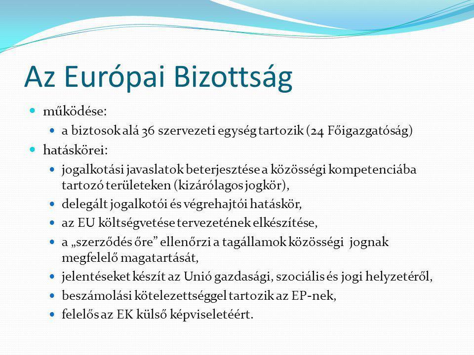 Az Európai Bizottság működése: hatáskörei:
