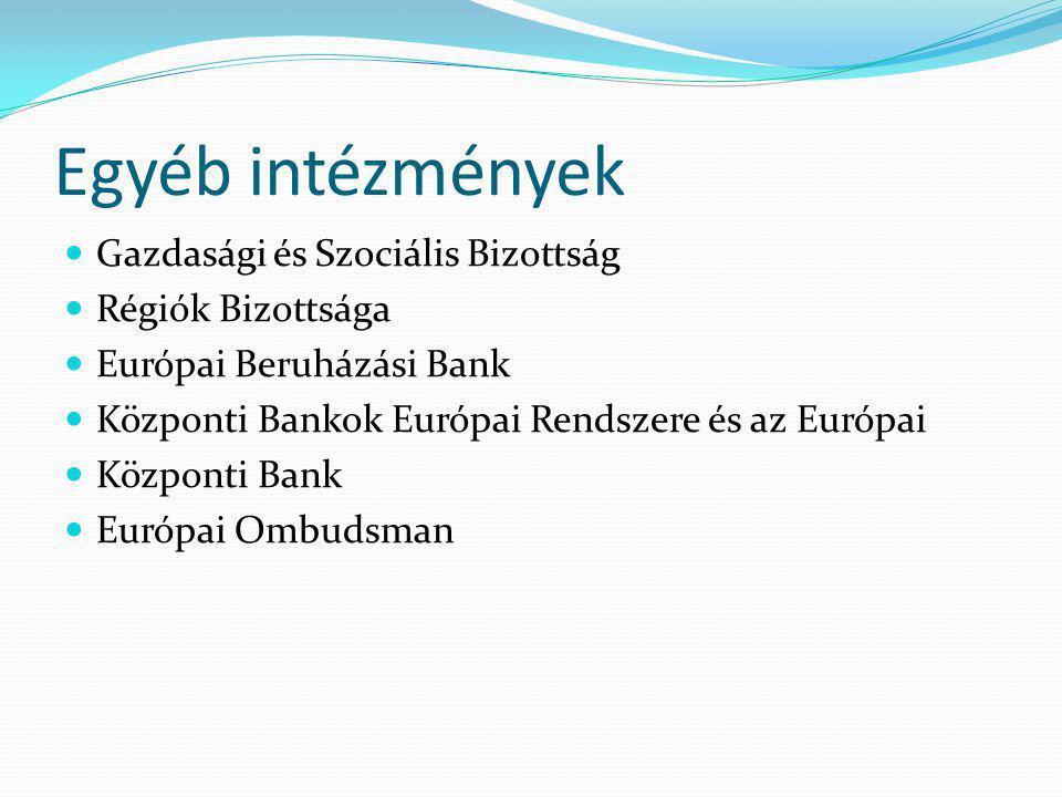 Egyéb intézmények Gazdasági és Szociális Bizottság Régiók Bizottsága