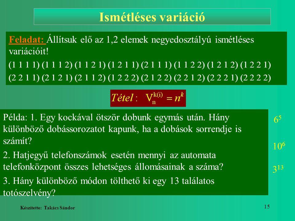 Ismétléses variáció Feladat: Állítsuk elő az 1,2 elemek negyedosztályú ismétléses variációit!
