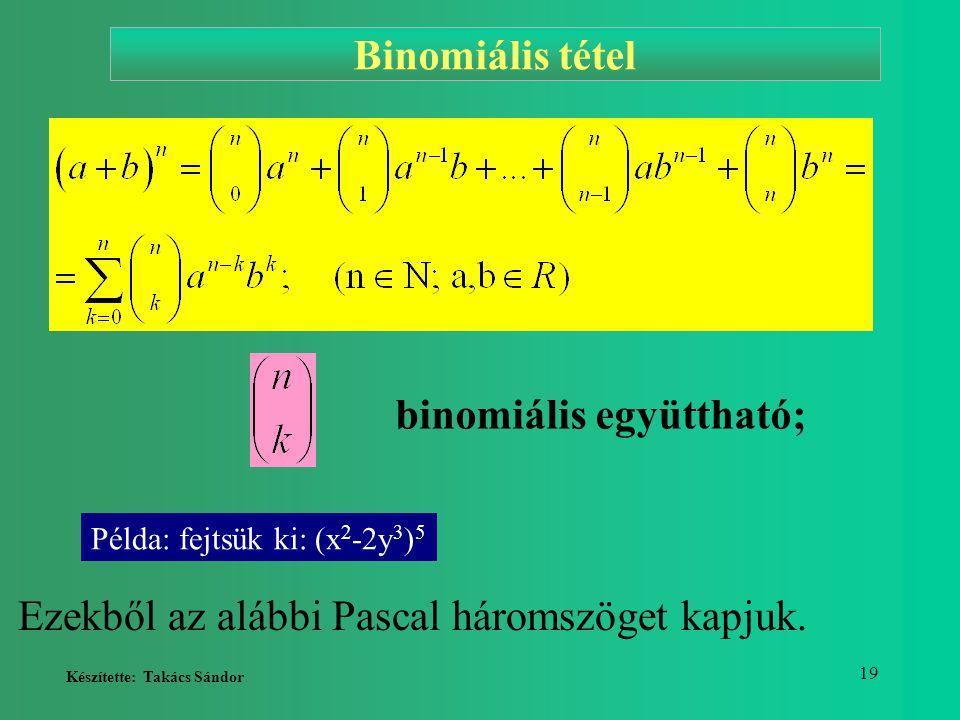 binomiális együttható;