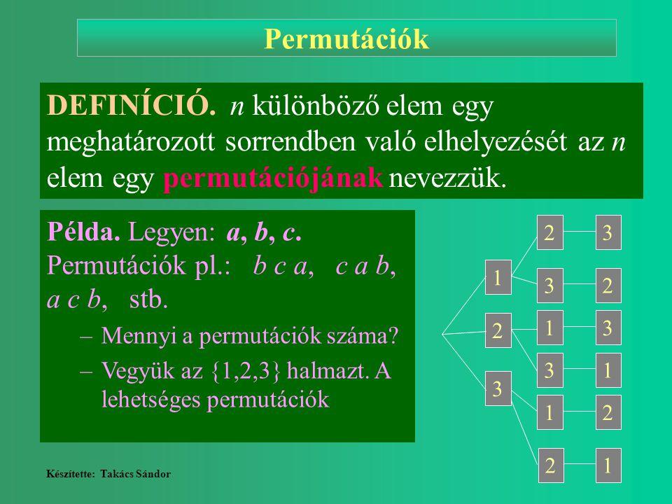 Permutációk DEFINÍCIÓ. n különböző elem egy meghatározott sorrendben való elhelyezését az n elem egy permutációjának nevezzük.