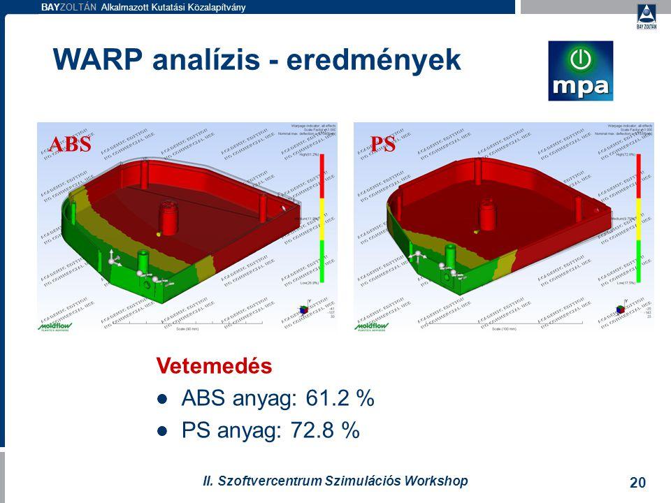WARP analízis - eredmények