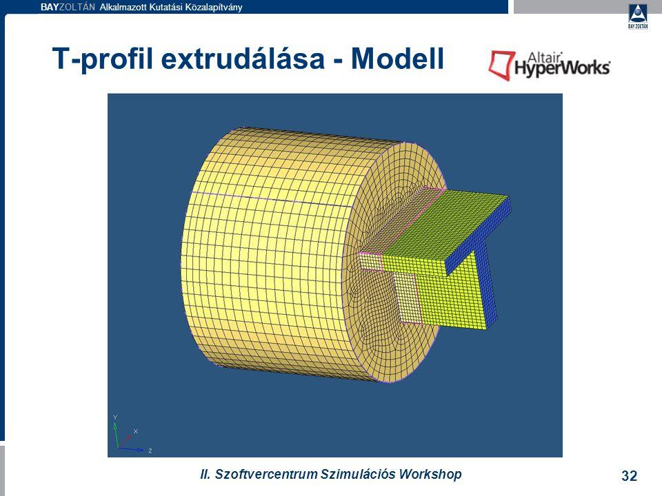 T-profil extrudálása - Modell