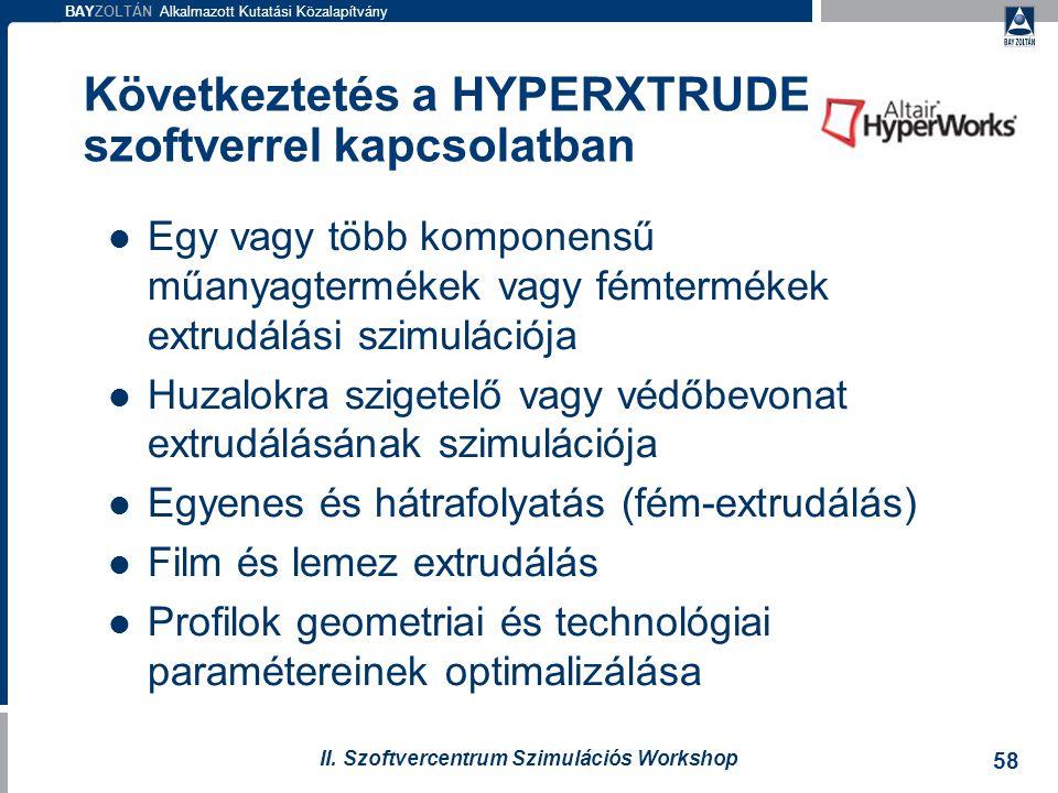 Következtetés a HYPERXTRUDE szoftverrel kapcsolatban