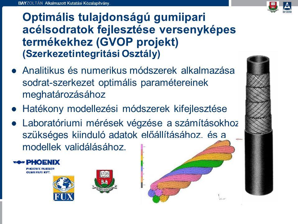 Optimális tulajdonságú gumiipari acélsodratok fejlesztése versenyképes termékekhez (GVOP projekt) (Szerkezetintegritási Osztály)