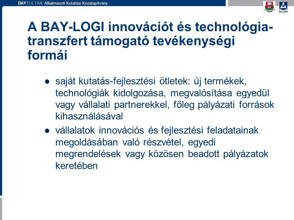 A BAY-LOGI innovációt és technológia-transzfert támogató tevékenységi formái