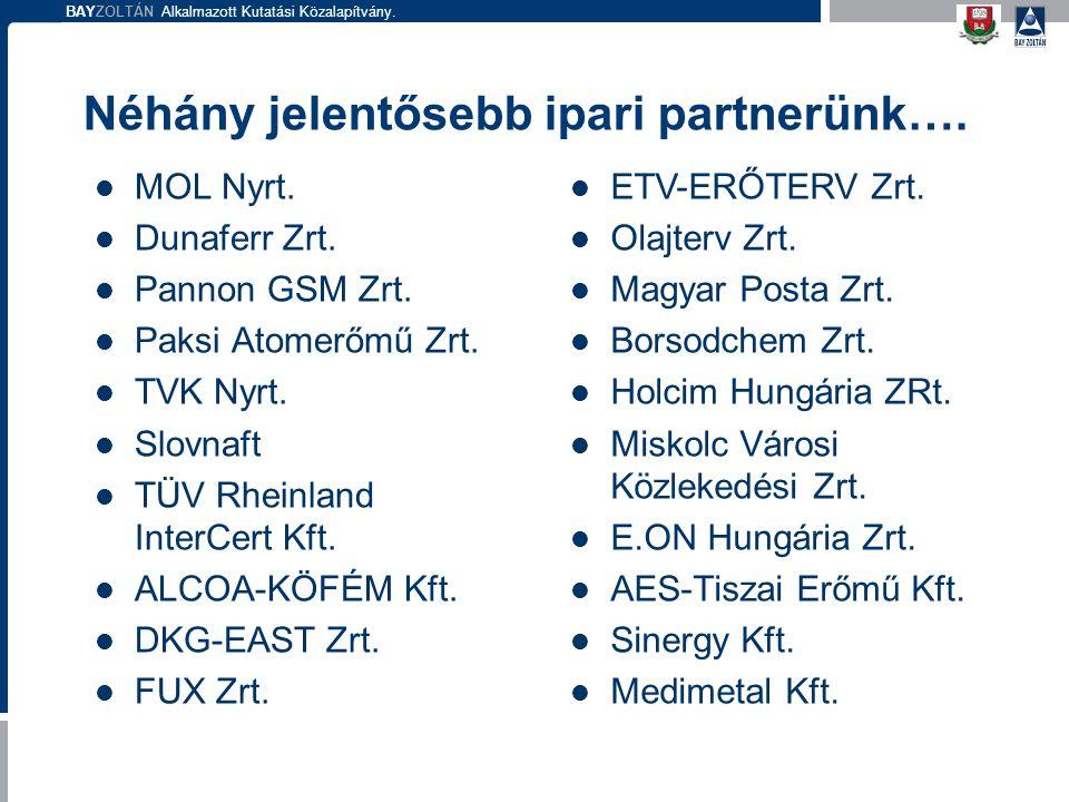 Néhány jelentősebb ipari partnerünk….