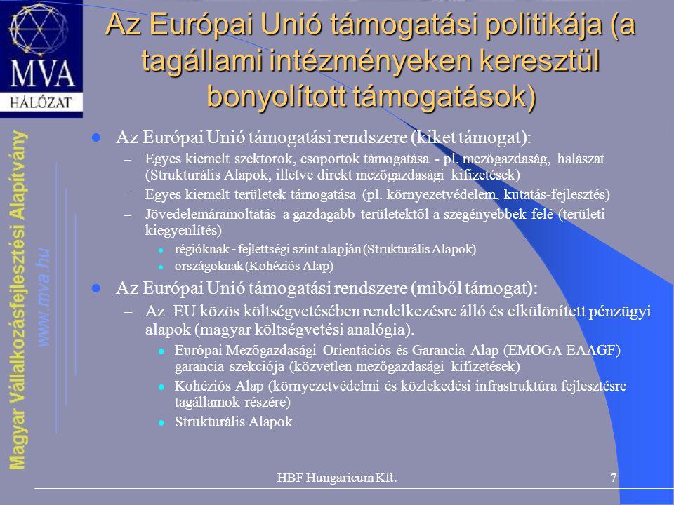 Az Európai Unió támogatási politikája (a tagállami intézményeken keresztül bonyolított támogatások)