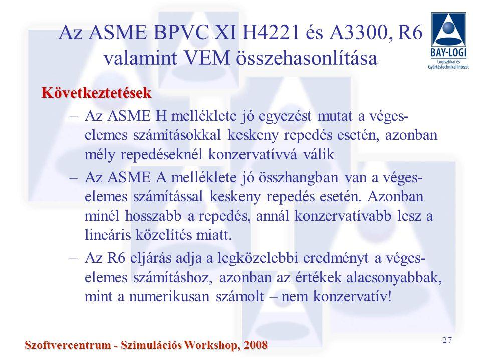 Az ASME BPVC XI H4221 és A3300, R6 valamint VEM összehasonlítása