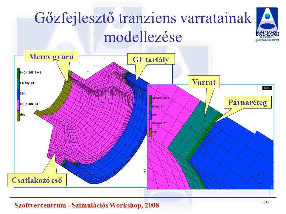 Gőzfejlesztő tranziens varratainak modellezése