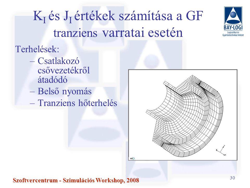 KI és JI értékek számítása a GF tranziens varratai esetén