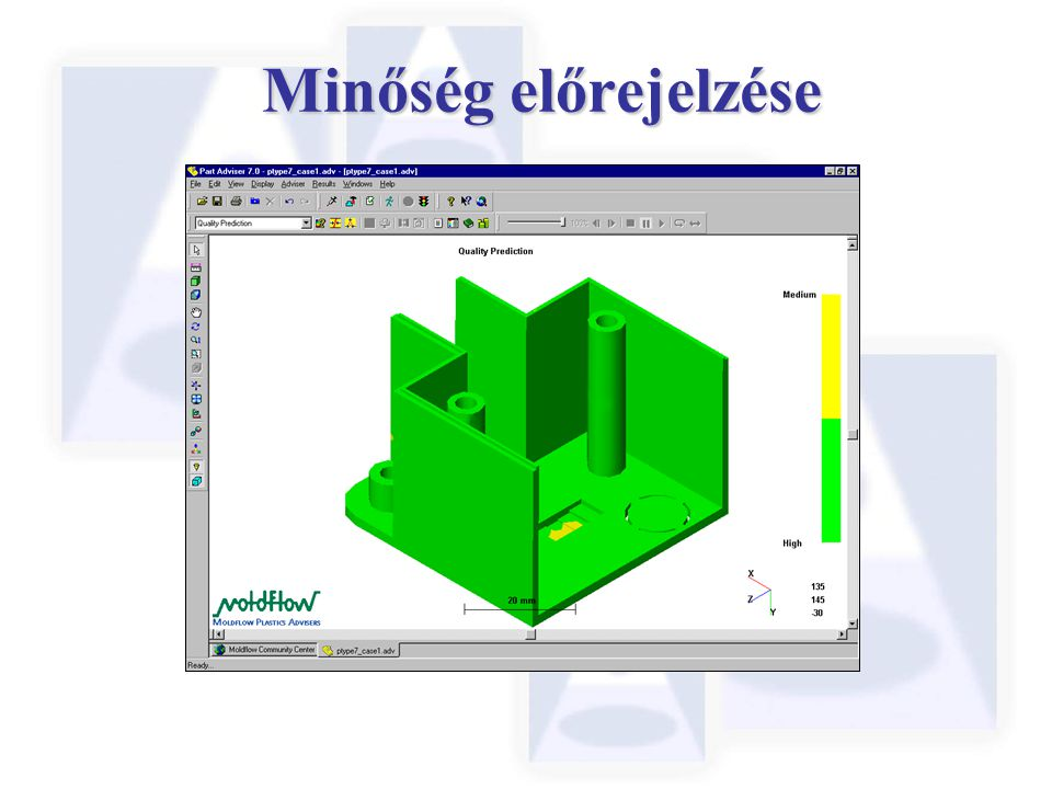 Minőség előrejelzése Like the Confidence of Fill plot, the Quality prediction is a simple to interpret Red/Yellow/Green.