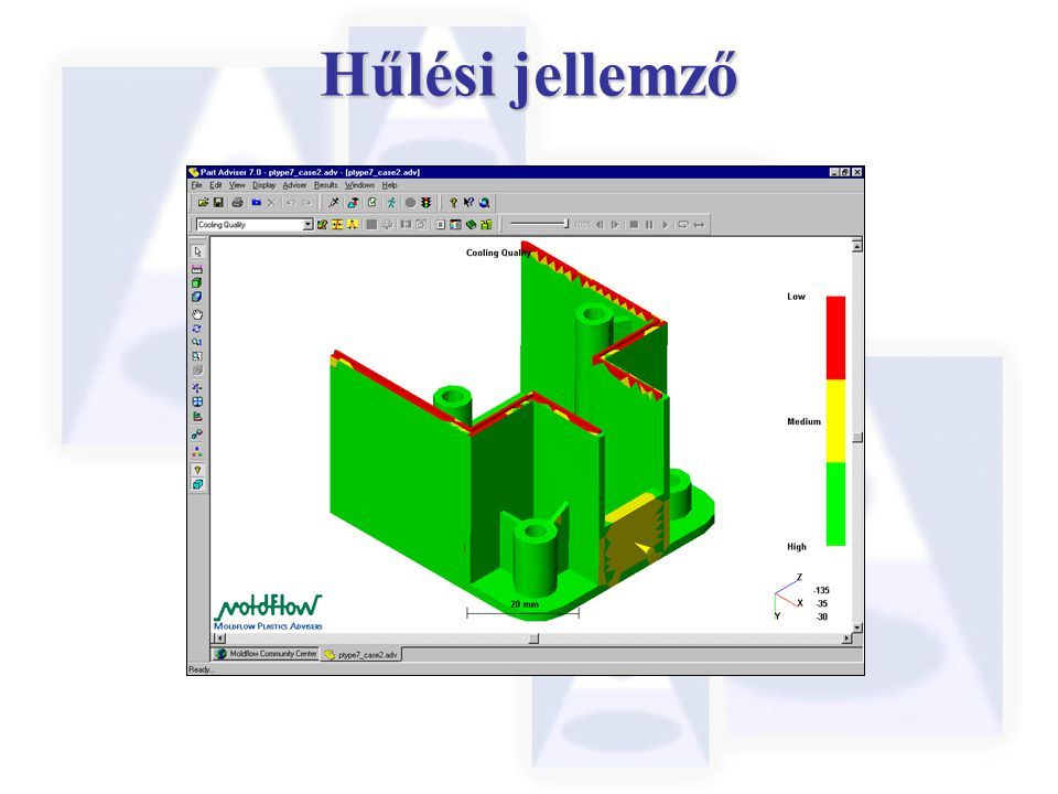 Hűlési jellemző Cooling Quality Analysis plots in the Adviser show you where heat tends to stay in a part due to its geometry and thickness.
