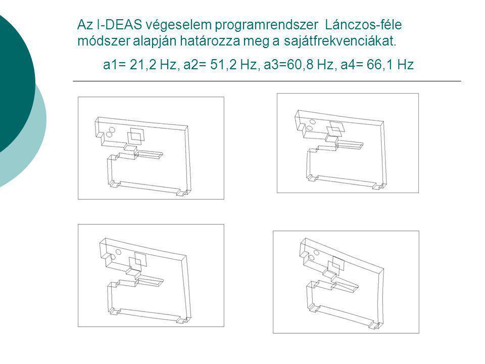 Az I-DEAS végeselem programrendszer Lánczos-féle módszer alapján határozza meg a sajátfrekvenciákat.