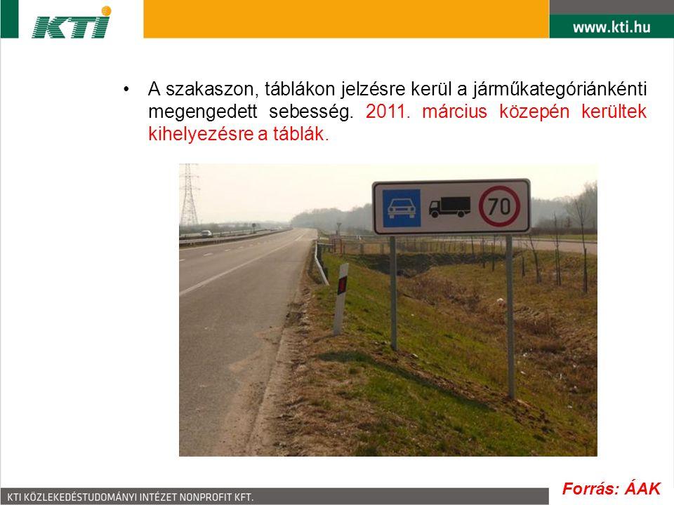 A szakaszon, táblákon jelzésre kerül a járműkategóriánkénti megengedett sebesség. 2011. március közepén kerültek kihelyezésre a táblák.