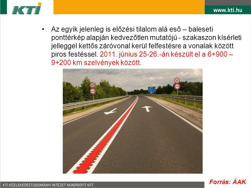 Az egyik jelenleg is előzési tilalom alá eső – baleseti ponttérkép alapján kedvezőtlen mutatójú - szakaszon kísérleti jelleggel kettős záróvonal kerül felfestésre a vonalak között piros festéssel. 2011. június 25-26.-án készült el a 6+900 – 9+200 km szelvények között.
