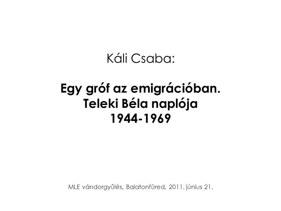 Káli Csaba: Egy gróf az emigrációban. Teleki Béla naplója 1944-1969